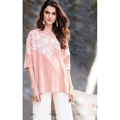 Relaxed Big Tee with Floral Applique - Blossom - Top