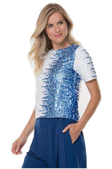 Blue and White Sequin Tee - 00 / Azure Combo - Top