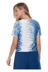 Blue and White Sequin Tee - Top