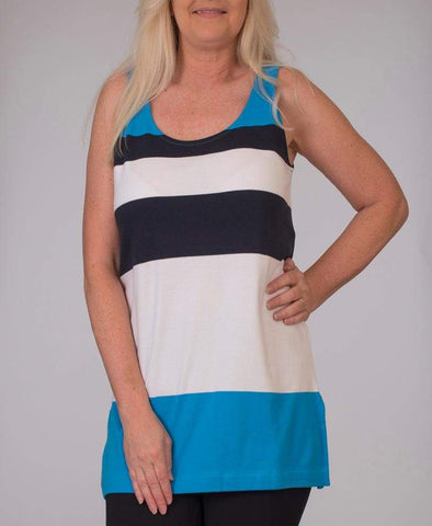Bold Stripe Tunic Tank - Ocean Blue Cbo - Top