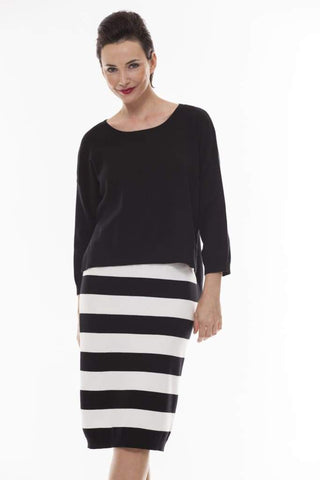 Bold Striped Skirt - 2 / black - Skirt Bottom