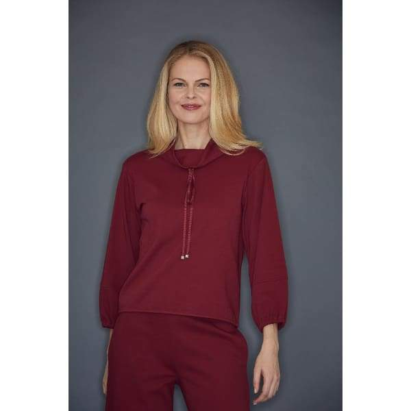 Burgundy Cowl Neck Top - Burgundy - Top
