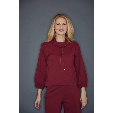 Burgundy Cowl Neck Top - Top