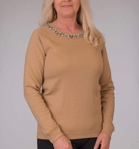 Camel Jewel Embellished Long Sleeve Sweatshirt - Classic Camel - Top