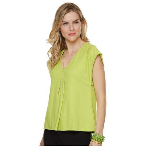 Chartreuse V-Neck Top - Chartreuse - Top