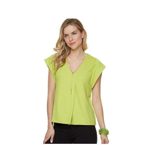 Chartreuse V-Neck Top - Top
