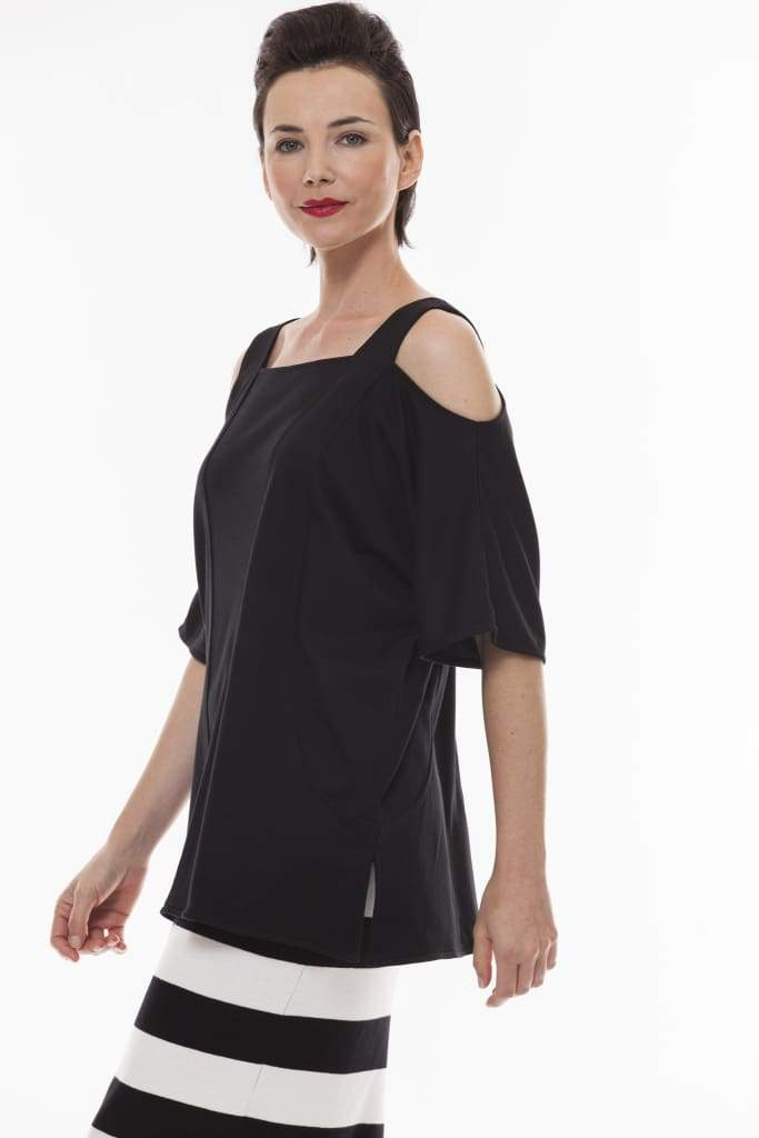 Cold Shoulder Top with Pockets - 1 / black - Top