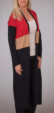 Colorblock Duster - Classic Red Cbo - Cardigan