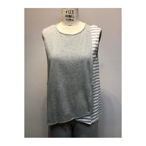 Colorblocked Asymmetric Shell - Grey Heather - Top