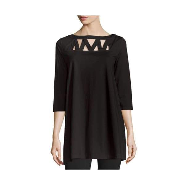 Cut Out Neckline Tunic Top - 1x / Black - Dress