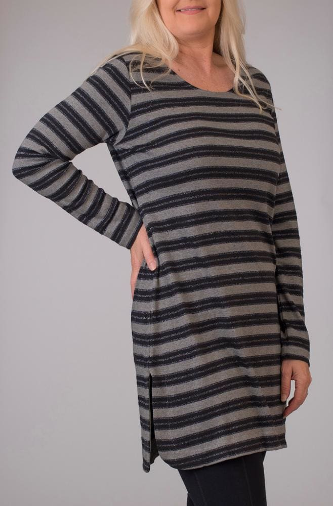 Dark Grey Metallic Stripe Tunic - Dark Grey - Tunic