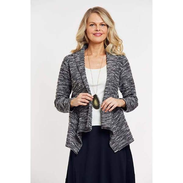 Draped Front Open Jacket - Black Cbo - Jackets