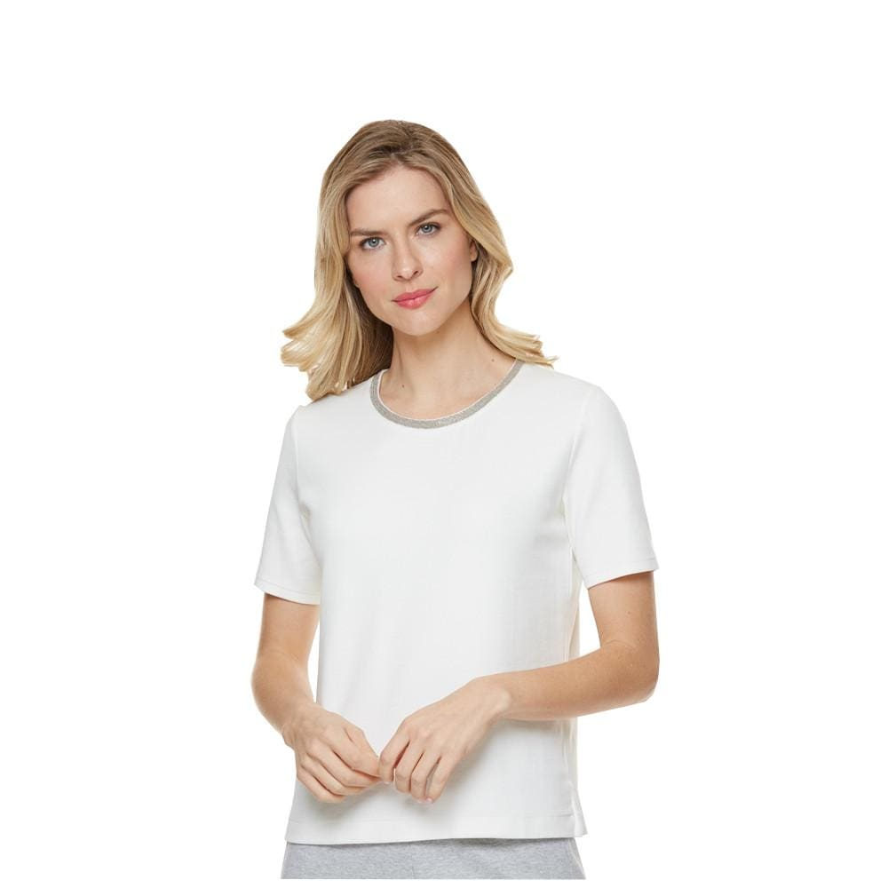 Embellished Crew T-Shirt - Ivory - Top