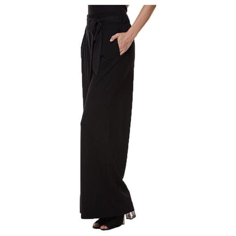Full Pant with Tie Belt - Black - Pants Bottom