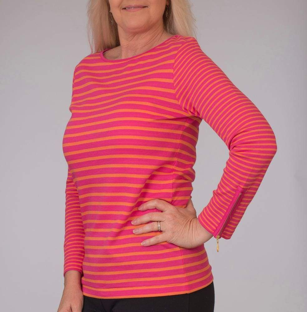 Fuschia Striped Crew with zipper - 1 / Fuschia Cbo - Top