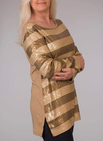 Gold Striped Sequin Tunic - Gold - Tunic