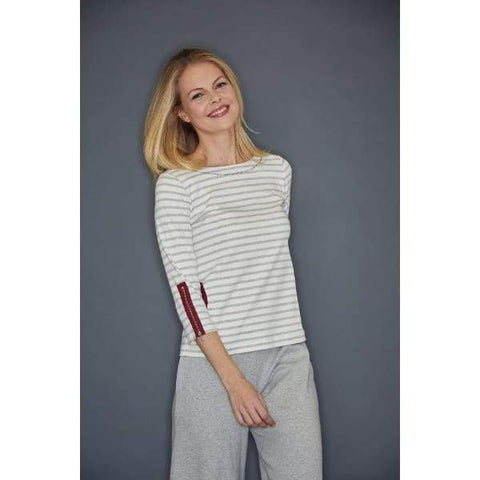 Grey Heather Stripe Circle Pocket Top - Grey Heather Cbo - Top