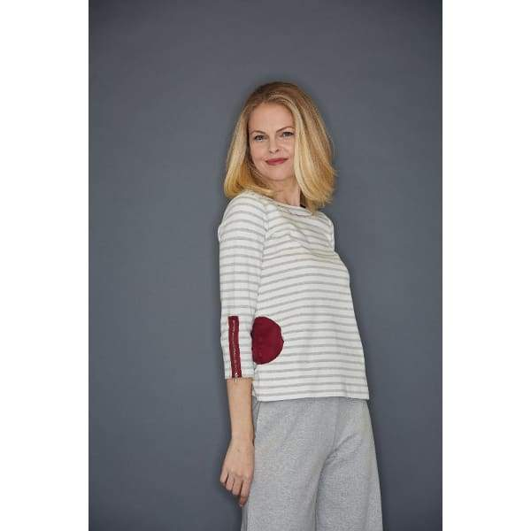 Grey Heather Stripe Circle Pocket Top - Top