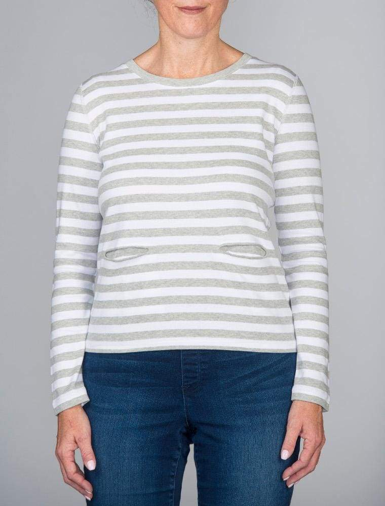 Grey Long Sleeve Stripe Top - 0P / Grey Heather - Top