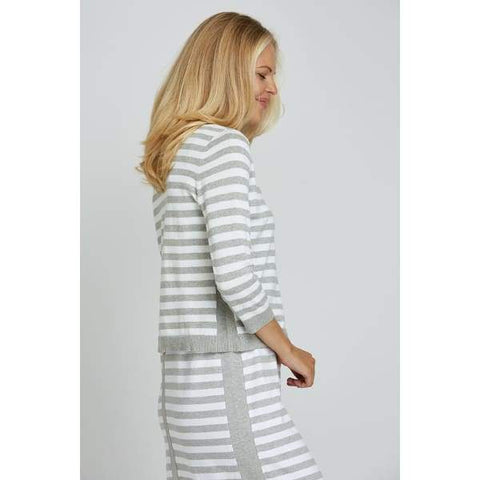 Grey Stripe Cardigan - Cardigan