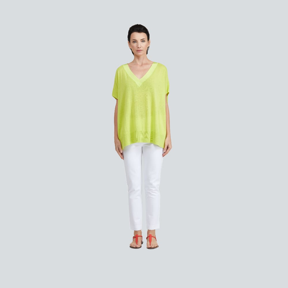 Grosgrain Trim V-Neck Sweater - Lime - Sweater
