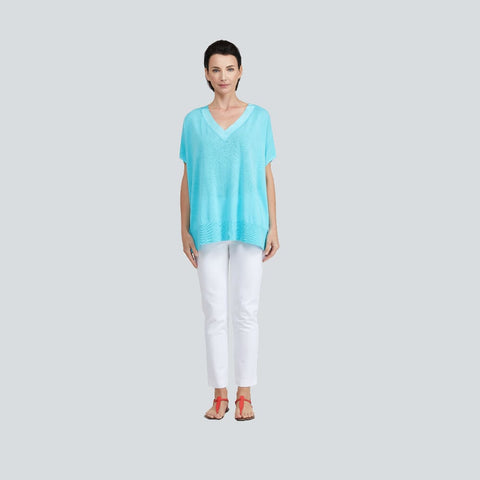 Grosgrain Trim V-Neck Sweater - Turquoise - Sweater