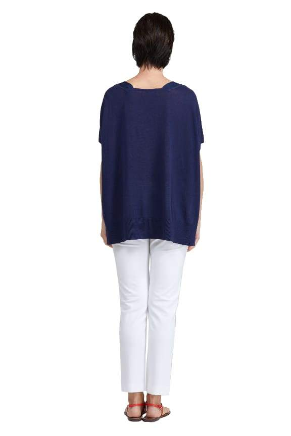 Grosgrain Trim V-Neck Sweater - Sweater