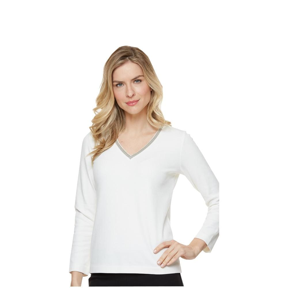Ivory Embellished V-Neck Top - Ivory - Top