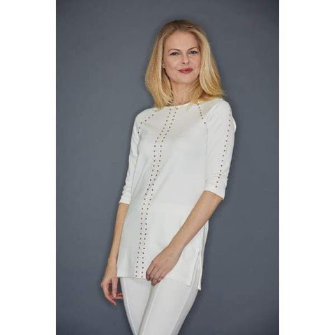 Ivory Studded Tunic - Ivory - Top