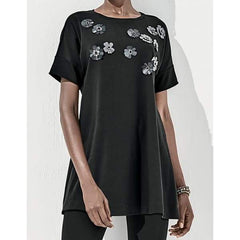 Jeweled Flower Tunic - Black - Tunic