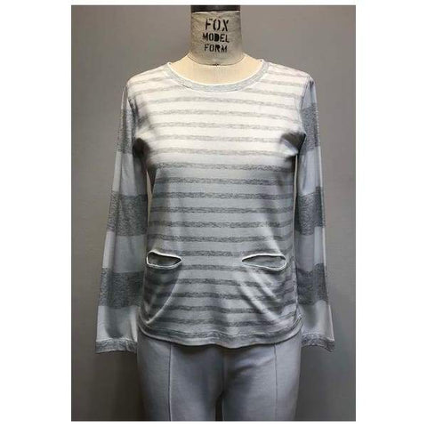 Mixed Stripe 2 Pocket Top - Grey Heather - Top