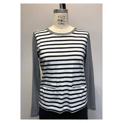 Mixed Stripe 2 Pocket Top - Top