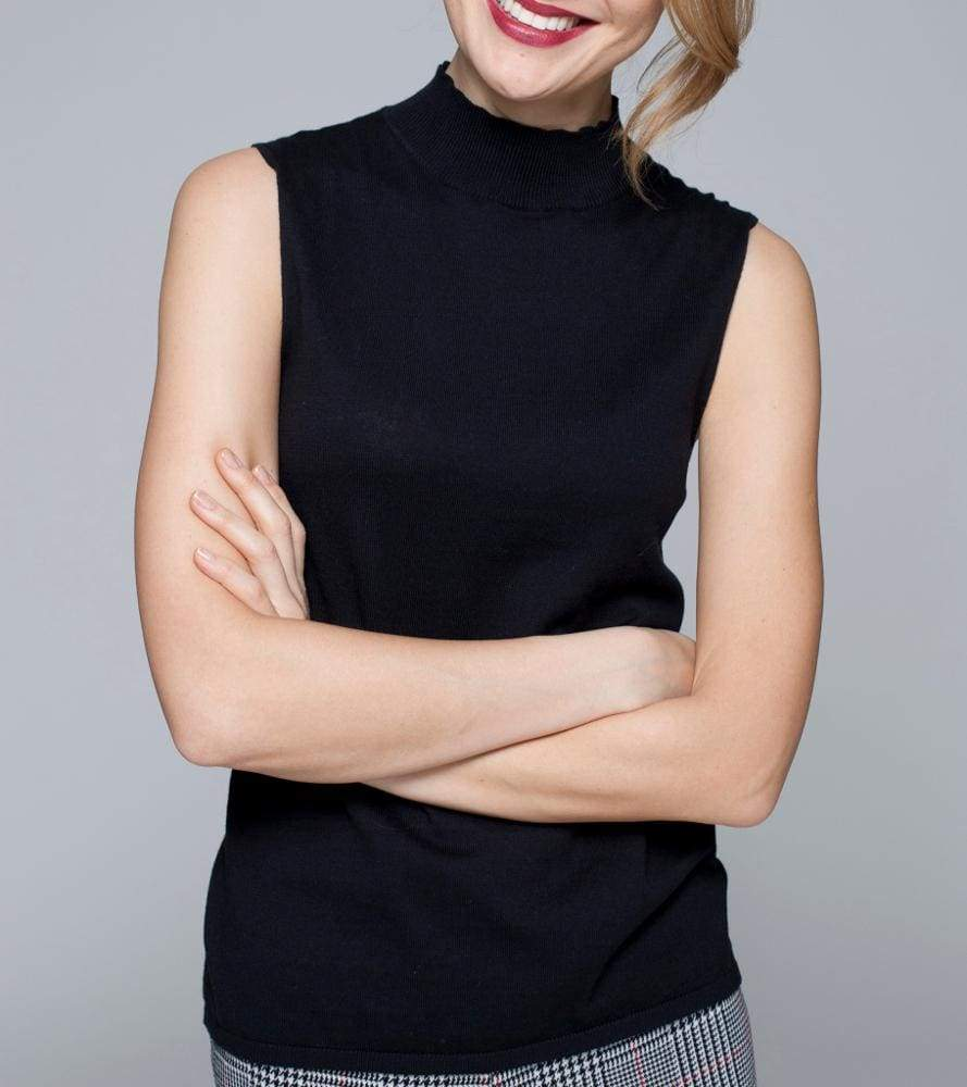 Mock Neck Sleeveless Top - 1 / Black - Top