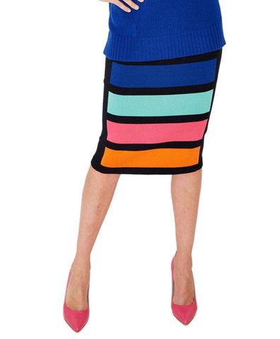 Multi Stripe Skirt - 1 / Pitch Black Cbo - Skirt Bottom