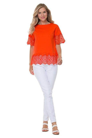 Orange Lace Trim T-Shirt - Top