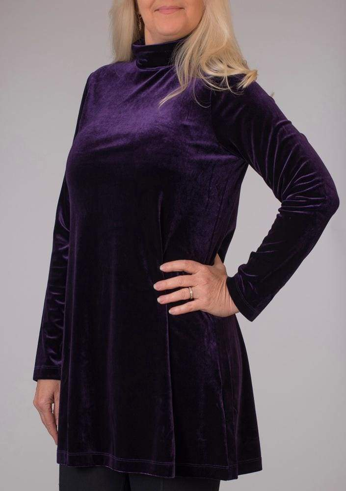 Purple Velour Turtleneck - Majestic Plum - Tunic
