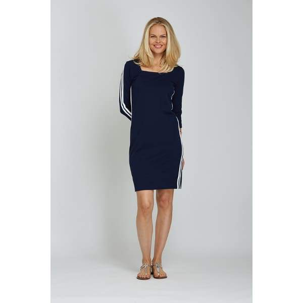 Racing Stripe Dress - Navy - Dress