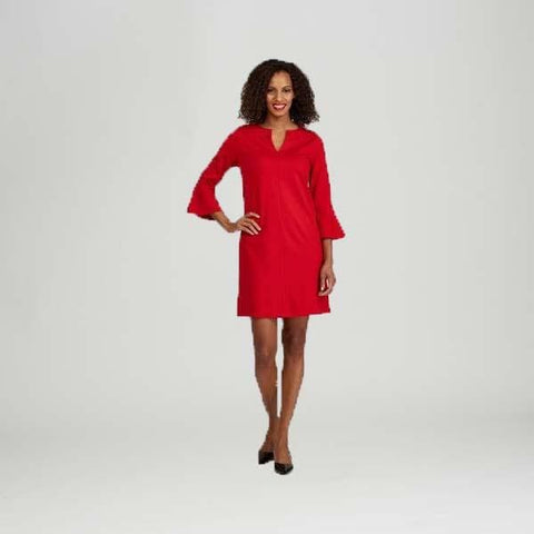 Red Bell Sleeve Dress - Red - Dress