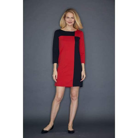 Red Colorblock Interlock Dress - Red - Dress