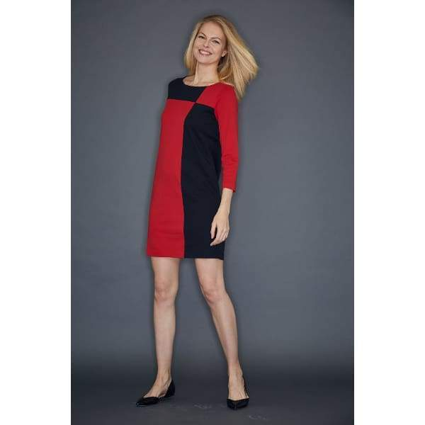 Red Colorblock Interlock Dress - Dress