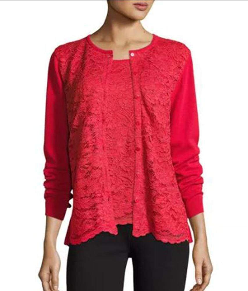 Red Lace Cardigan - Red - Cardigan
