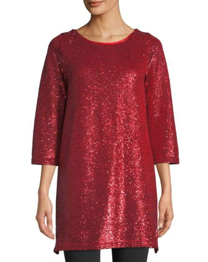Red Sequins Easy Tunic - Red - Tunic