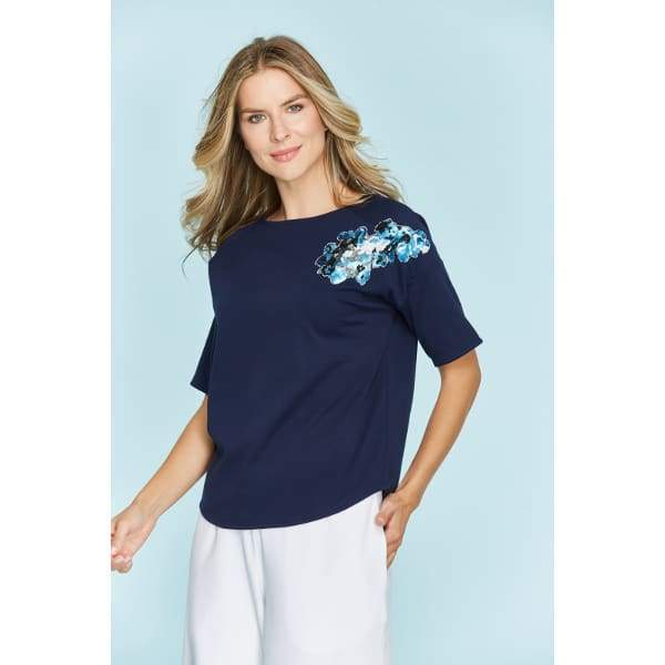 Sequin Flower Tee - Navy - Top