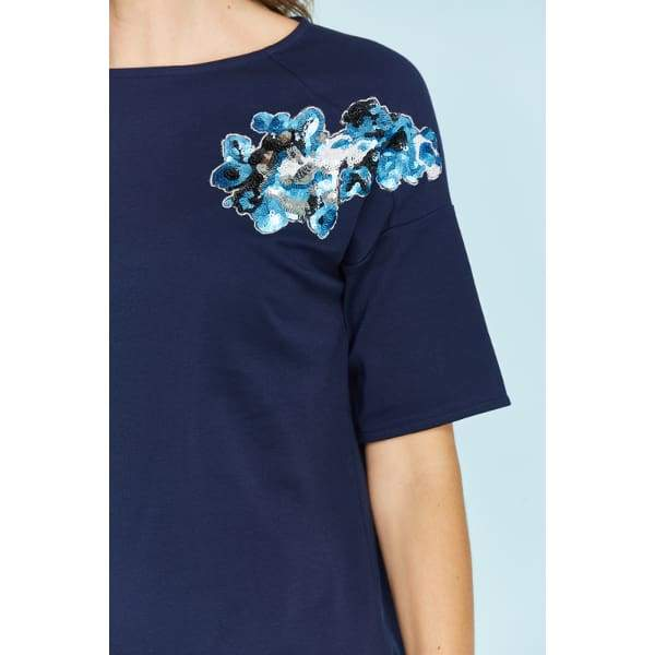 Sequin Flower Tee - Top