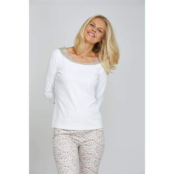 Sequin Neck Top - White - Top