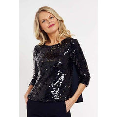 Sequins Boatneck Top - Black - Top