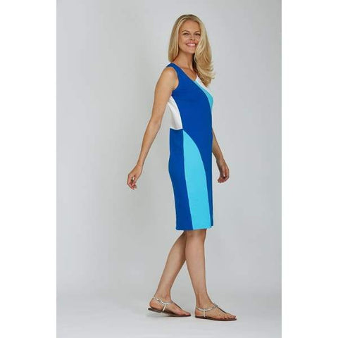 Sleeveless Colorblock Dress - Blue Cbo - Dress