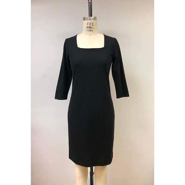 Square Neckline Dress - Black - Dress