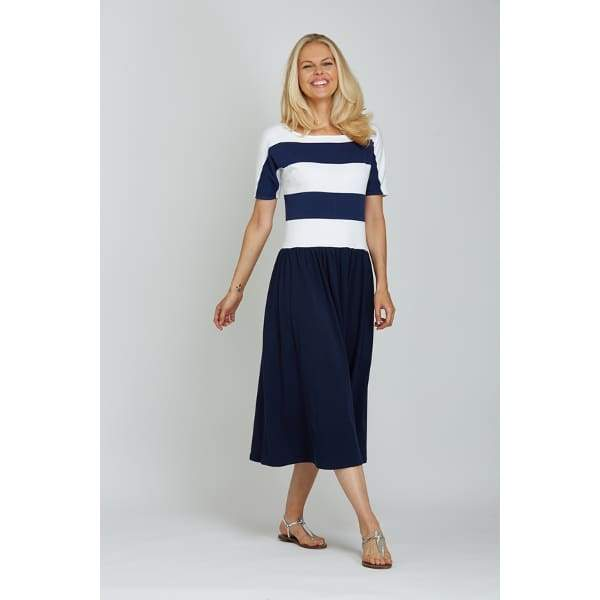 Stripe Dolman Dress - Navy Cbo - Dress
