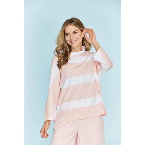 Stripe Mock Pullover - Blossom/ White - Top